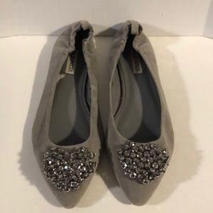 Kelsi dagger grey suede flats shoes sz 9 1/2
